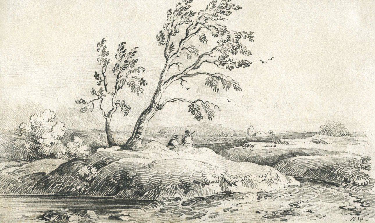 good 1839 graphite drawing landscape sulis fine art
